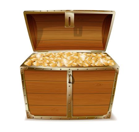 오픈 보물 상자 벡터 (일러스트)