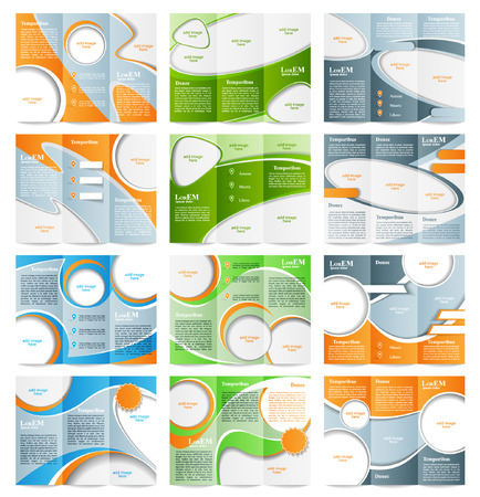 Set of Tri-fold brochure template Vector