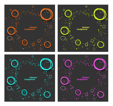 Set of abstract backgrounds with fluorescent splash and circles Vector