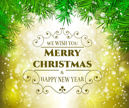 Christmas greeting background - holidays lettering on glowing background Vector