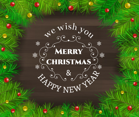 Christmas greeting background - holidays lettering on a wooden background Vector