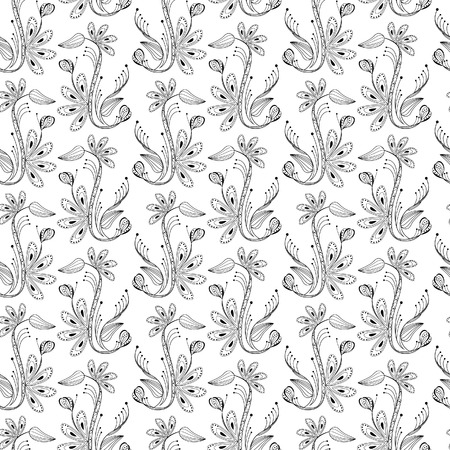 balck: seamless floral pattern, balck and white