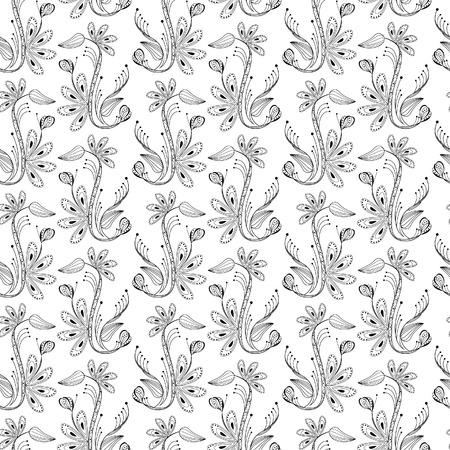 balck: seamless floral pattern, balck and white