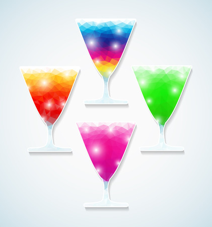 Set of cocktails, triangle style Vector