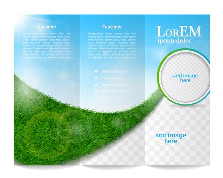Tri-fold brochure template  イラスト・ベクター素材