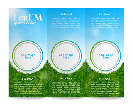 sky and grass: Tri-fold brochure template Illustration
