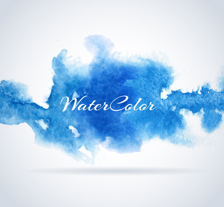 red and blue: Abstract Background with Watercolor banner, vector illustration Illustration