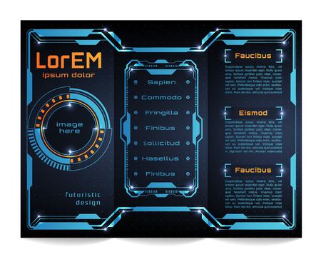 futuristic: Tri-fold brochure template, Futuristic HUD