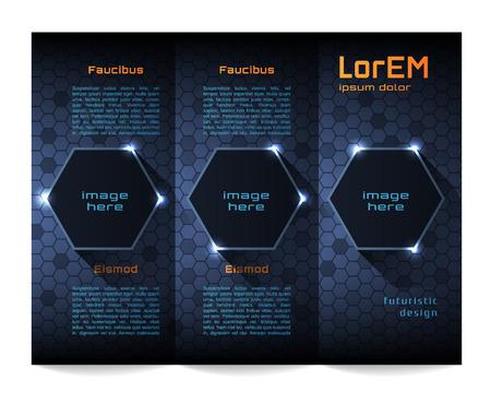 Tri-fold brochure template, Futuristic HUD Vector