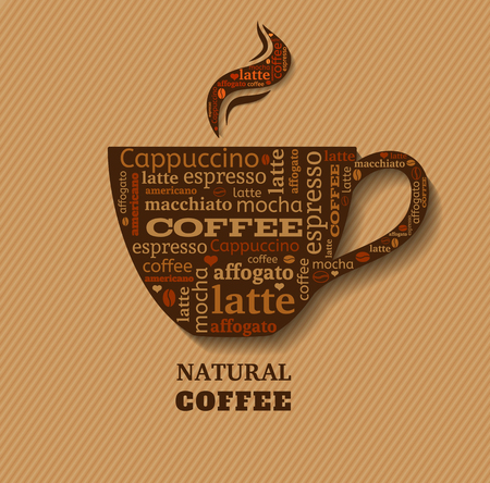 Cup of coffee with word cloud on fabric background Illustration
