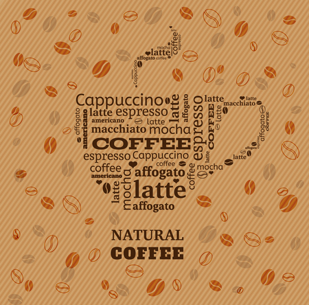 textcloud: coffee cup typography from words on fabric background with coffee beans Illustration
