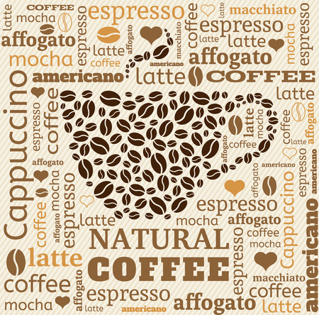coffee cup typography from words on fabric background with word cloud Illustration