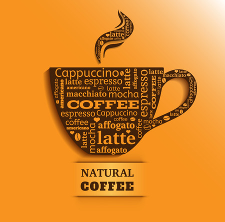 Cup of coffee with word cloud on orange background