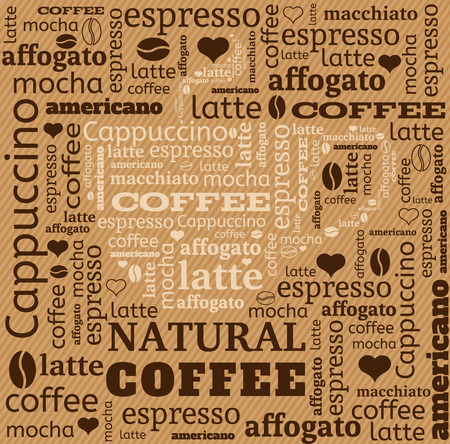 coffee cup typography from words on fabric background with word cloud Ilustrace