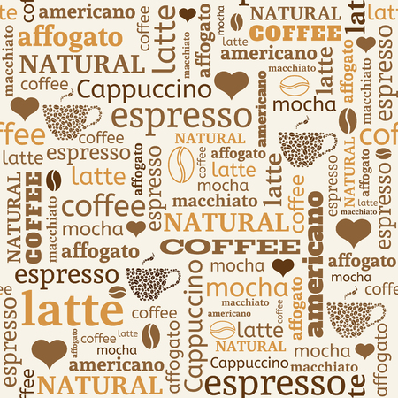 seamless background with typography from words, coffee beans and hearts Illustration
