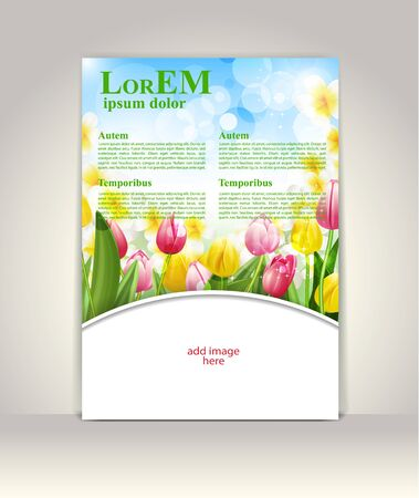 colorful flowers: Flyer, brochure or magazine cover template