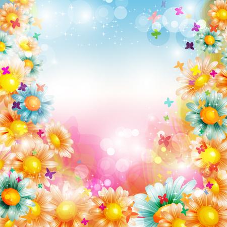 Résumé bel été ou au printemps coloré fond floral avec des papillons
