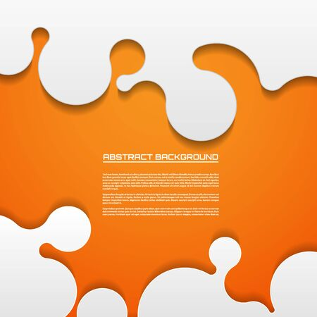 orange background abstract: Abstract paper background, cutout curved elements on the orange background