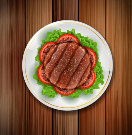grilled: White dish with grilled meat,salad and tomato on a wooden background