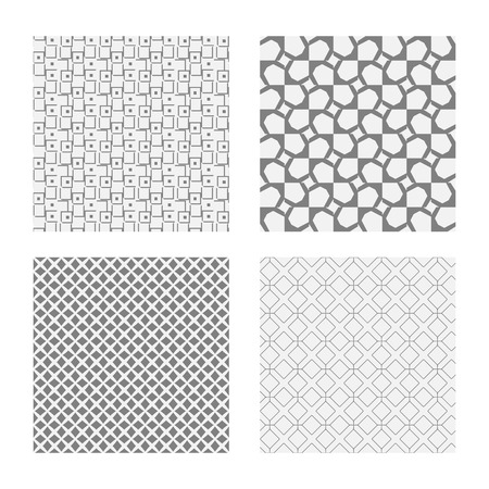 mishmash: Seamless geometric patterns. Set of backgrounds in grey colors