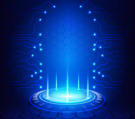 abstract technology: Abstract technology background illustration with digital glowing symbols