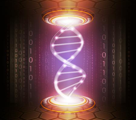 simbolo: La tecnologia astratta o la medicina illustrazione sfondo con i simboli incandescente digitali e della catena del DNA Vettoriali