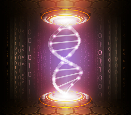 Abstract technology or medicine background illustration with digital glowing symbols and dna chain