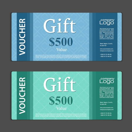 Gift Voucher template with bonus - two seamless geometric pattern