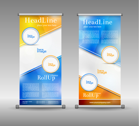 advertisements: Roll Up Banner Abstract Geometric Colourful Design, Advertising Background Illustration
