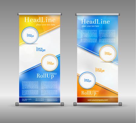 Roll Up Banner Abstracte Geometrische Kleurrijke Design, Advertising Achtergrond