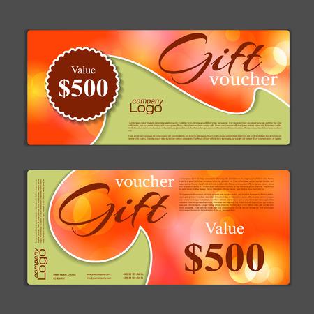 modello di buono regalo. Può essere utilizzato per carte commerciali, coupon di sconto, banner, carta sconto, web design e altri. Illustrazione vettoriale. disegno astratto Vettoriali
