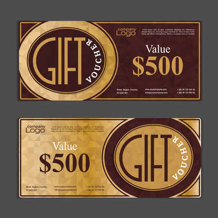 gift card: Gift voucher template. Can be use for shopping cards, discount coupon, banner, discount card , web design and other. Vector illustration. Abstract design