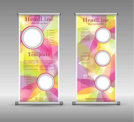 spring roll: Roll Up Banner Abstract Geometric Colourful Design, Advertising Vector Background