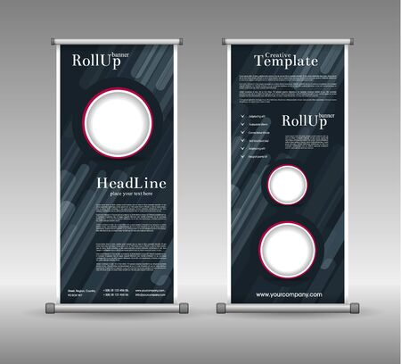 advertising design: Roll Up Banner Abstract Geometric Design, Advertising Vector Background Illustration