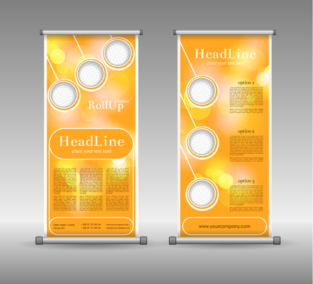 display: Roll Up Banner Abstract Geometric Colourful Design, Advertising Vector Background