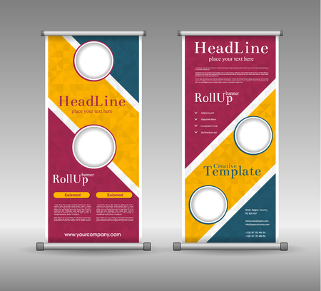 advancement: Roll Up Banner Abstract Geometric Colourful Design, Advertising Vector Background