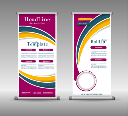 background banner: Roll Up Banner Abstract Geometric Colourful Design, Advertising Vector Background