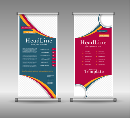 roll up: Roll Up Banner Abstract Geometric Colourful Design, Advertising Vector Background