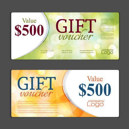 Gift voucher template. Can be use for shopping cards, discount coupon, banner, discount card , web design and other. Illustration