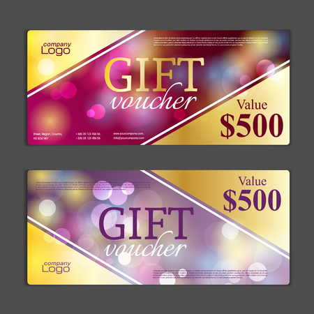 gift icon: Gift voucher template. Can be use for shopping cards, discount coupon, banner, discount card , web design and other. Illustration