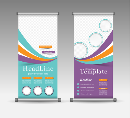 advertising design: Roll Up Banner Abstract Geometric Colourful Design, Advertising Vector Background