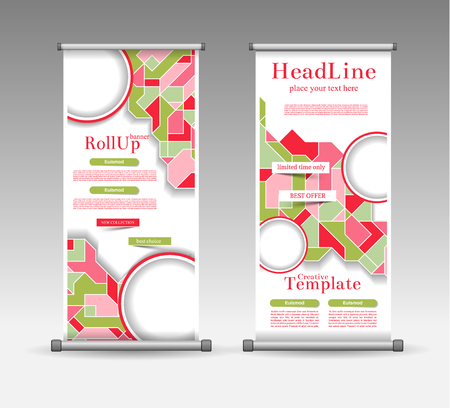 BANNER DESIGN: Roll Up Banner Abstract Geometric Colourful Design, Advertising Vector Background