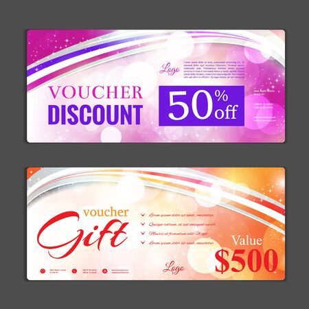 Gift voucher template. Can be use for shopping cards, discount coupon, banner, discount card , web design and other. Vector illustration. Abstract design Stock Vector - 69667485