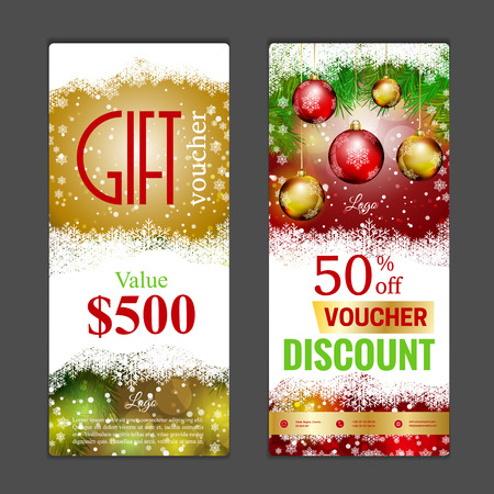 happy web: Gift voucher template. Can be use for shopping cards, discount coupon, banner, discount card , web design and other. Vector illustration. Happy New Year and Merry Christmas design