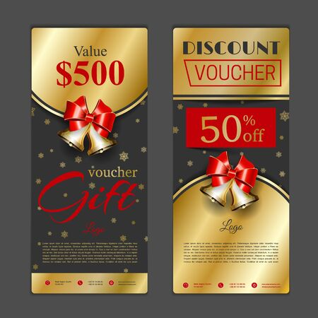 new icon: Gift voucher template. Can be use for shopping cards, discount coupon, banner, discount card , web design and other. Vector illustration. Happy New Year and Merry Christmas design