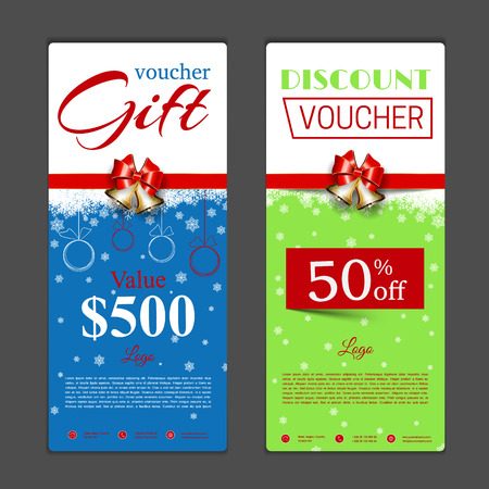 holyday: Gift voucher template. Can be use for shopping cards, discount coupon, banner, discount card , web design and other. Vector illustration. Happy New Year and Merry Christmas design