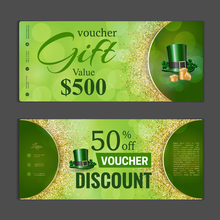 special price: Gift voucher template. Can be use for shopping cards, discount coupon, banner, discount card , web design and other. Vector illustration. Saint Patricks day design Illustration
