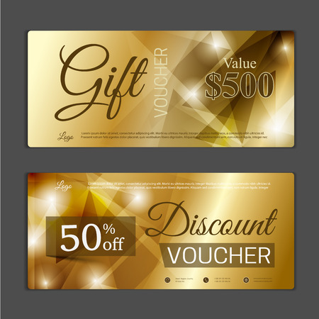 coupon: Gift voucher template. Can be use for shopping cards, discount coupon, banner, discount card , web design and other. Vector illustration. Abstract design