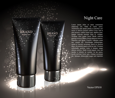Design cosmetics product, ads on the glowing background. Skin care cosmetic packaging.3D Realistic vector illustration