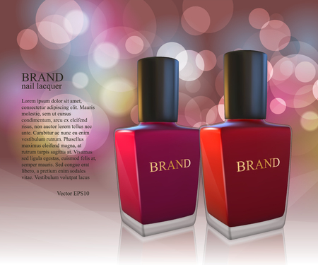 Nail lacquer ads, nail polish bottles on glowing background. 3D Realistic vector illustration